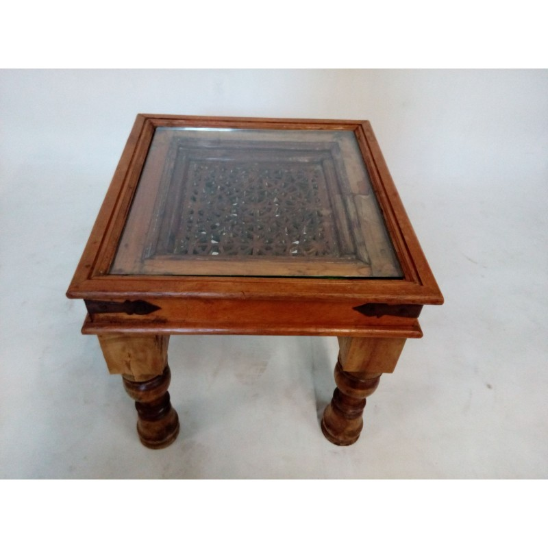 Stolik Kawowy Z Drewna Egzotycznego Ażurowe Rzeźbienie