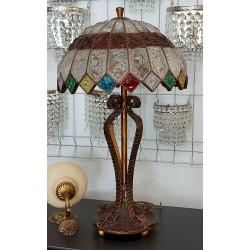 Witrażowa lampa ze szklanym...